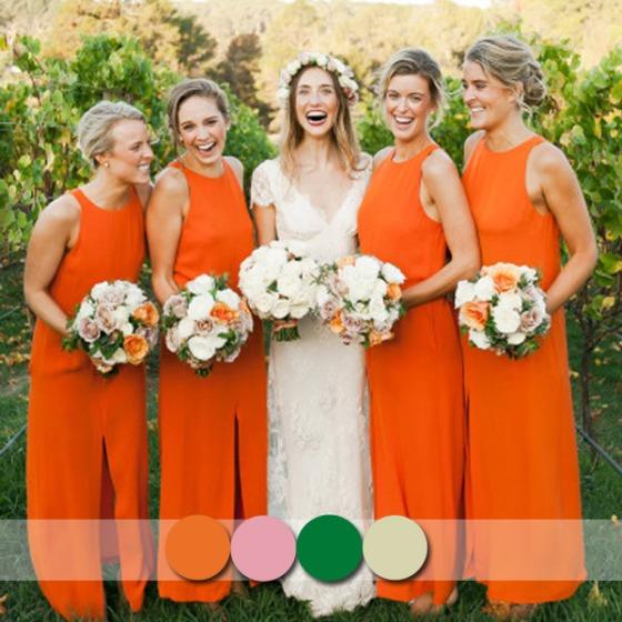 bright orange long bridesmaid dresses