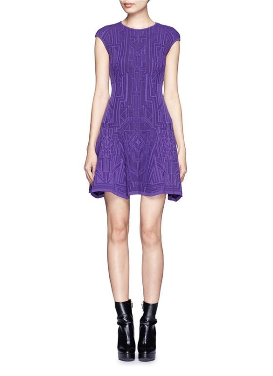 purple lace patterns formal dress